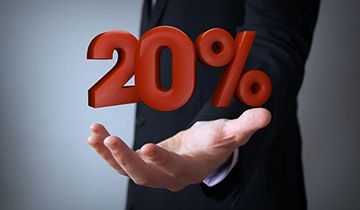 20 percent cash back