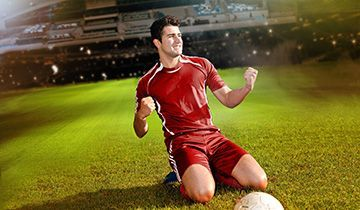 happy soccer player