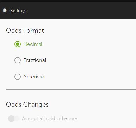 Accept all odds movement Betsafe